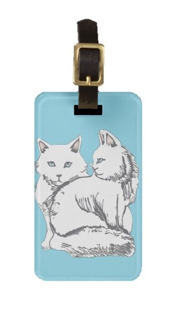 Maine Coons with Blue Luggage Tag; Abigail Davidson Art; ArtisanAbigail at Zazzle