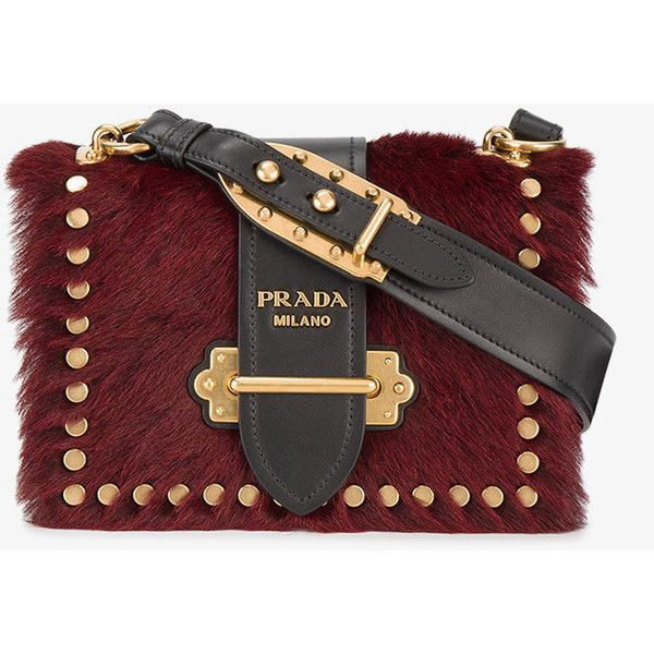 Prada pony fur Cahier shoulder bag (£2,150) ❤ liked on Polyvore featuring bags, handbags, shoulder bags, red handbags, prada purses, fur shoulder bag, antique purses and shoulder handbags