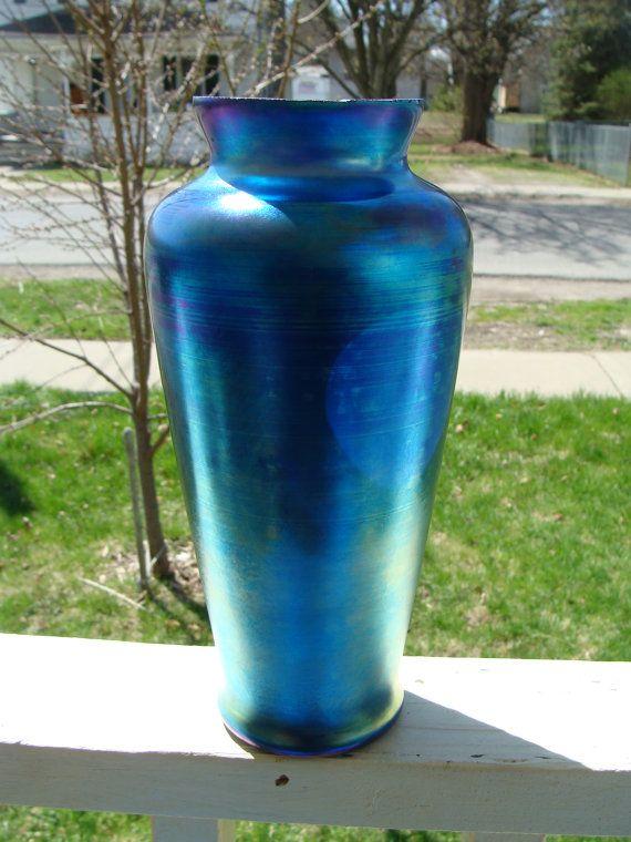 Vintage Art Glass Blue Aurene Iridescent Nouveau Vase Loetz Tiffany Steuben Kralik Quezal Type Large Cobalt
