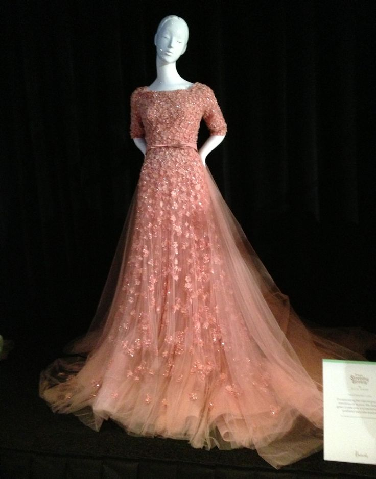 I would totally wear this gown.  The dress was made by Elie Saab and inspired by Aurora (Sleeping Beauty) #disney #disneyprincess #pink #designerdress
