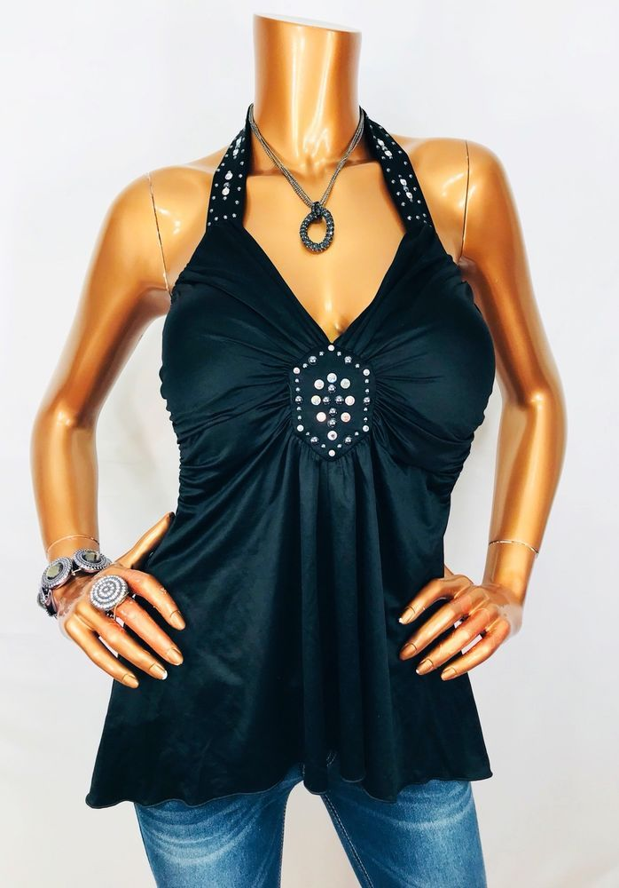 80db8ded Cache M NWT Halter Top Low Cut Stretch Gemstones Blouse Black USA Shirt |  eBay