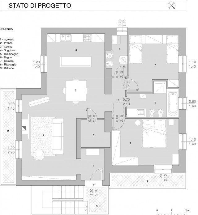 110 Mq Una Casa Con Pareti D Effetto Planimetrie Di Case