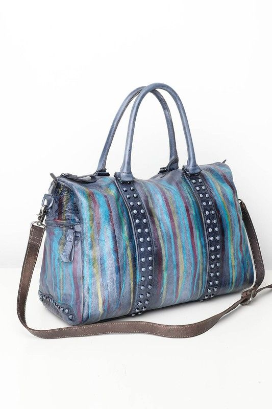 POL STUDDED PAINTED LEATHER BOSTON BAG