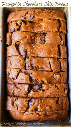 This recipe makes one heck of a super-moist pumpkin bread! This fall favorite is packed with sweet cinnamon spice, chocolate chips, and tons of pumpkin flavor. Recipe via http://sallysbakingaddiction.com