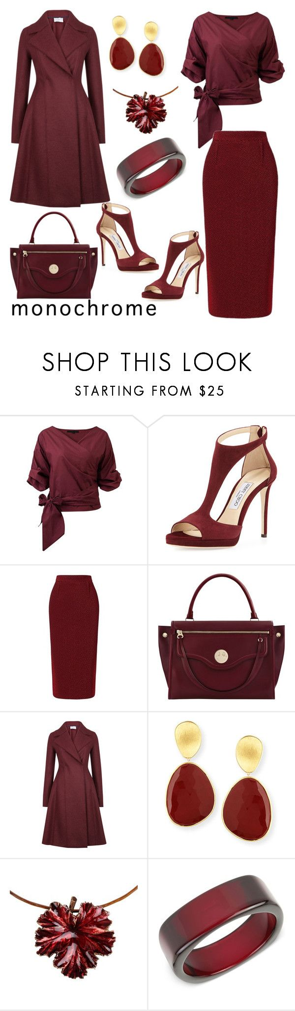 """""""Claret"""" by wallaceschade ❤ liked on Polyvore featuring Jimmy Choo, Roland Mouret, Hill & Friends, Harris Wharf London, Marco Bicego, Madina Visconti di Modrone and INC International Concepts"""