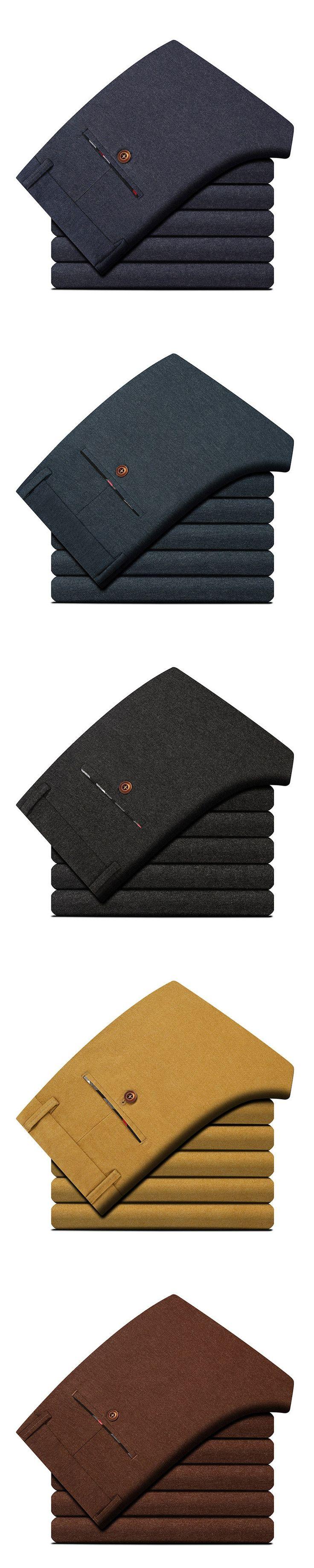 2018 Spring Classic New Men's Elastic Casual Pants Mens Business Dress Slim Jogger Stretch Long Trouser Male Khaki High Quality