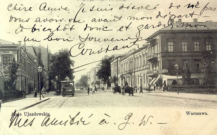 Warszawa al. Ujazdowskie Winiarski Vintage postcard, Alte postkarte aus Warschau, stara pocztówka, Warszawa, Varsovie Carte Postale Ancienne CPA