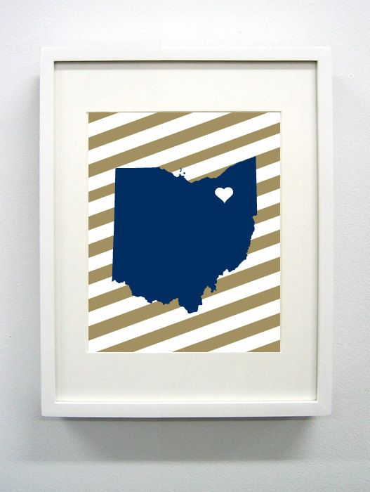 Akron Ohio State Giclée Print  8x10  Blue and Gold by PaintedPost, $15.00 #paintedpoststudio - University of Akron - Zips- What a great and memorable gift for graduation, sorority, hostess, and best friend gifts! Also perfect for dorm decor! :)