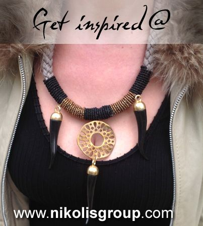 short necklace with horns and metal casting in bronze color! find all the materials @ www.nikolisgroup.com