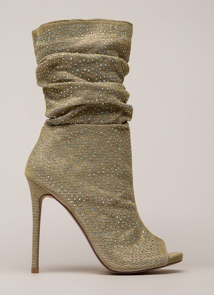 0b3d675d3dc94 Jeweled Tone Slouchy Peep-Toe Booties GOLD