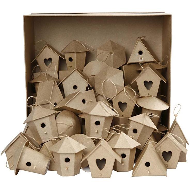 Mini vogelhuisjes - Bulkvoordeel, 7 cm, 60 assorti