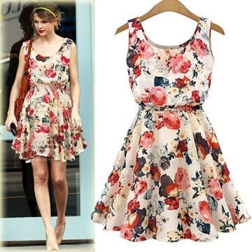 Show details for Women Bohemian Floral Leopard Sleeveless Vest Printed Chiffon Dress