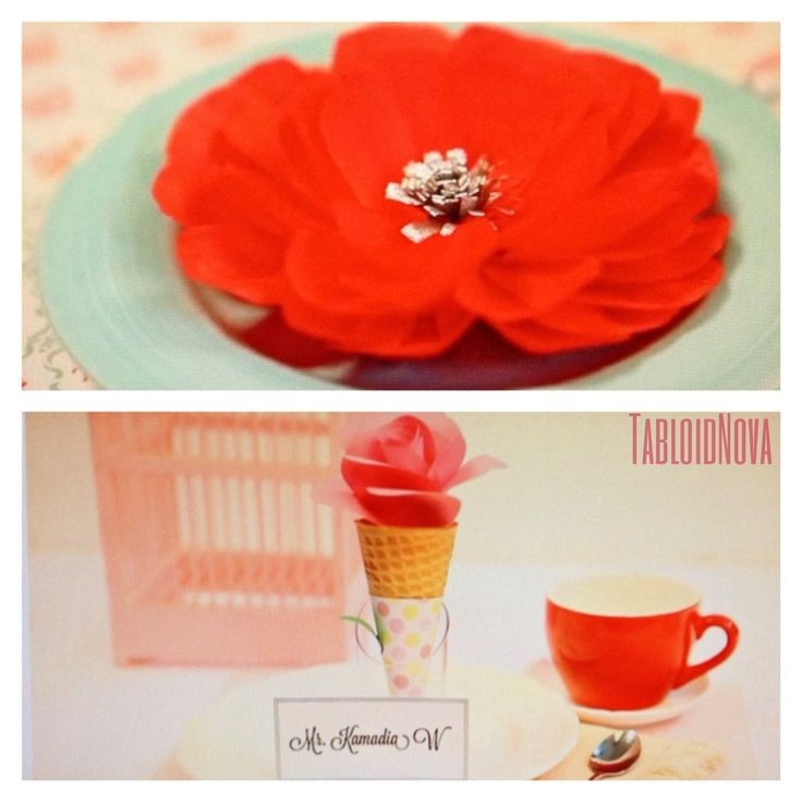 Flower paper to decorate your table set by Toscaberries! Find TUTORIAL in youtube with user: Tabloidnovachannel or simply click this photo :) #DIY #flowerpaper #placecard # tabloidnova #tutorial #tablesetting