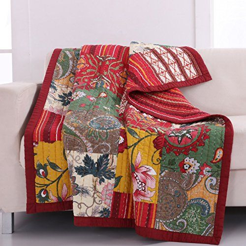 French Country Cottage Quilt Lap Throw Blanket Print