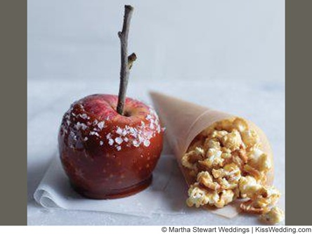 @Martha Stewart Weddings Magazine candy apple wedding favor. This recipe uses sprinkles of course sea salt and is combined with a favor cone filled with caramel popcorn (yum!)