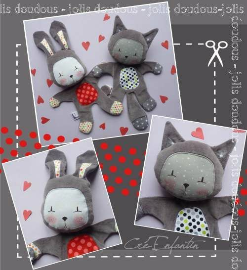 Frimou's - Tutoriel 2 doudous (chat et lapin) - Janvier 2013: Rabbit, Cat Patterns, Quilts Patterns, Kitty Cats, Cute Patterns, Cute Bunnies, Tuto Doudou, Free Patterns, Sewing Patterns