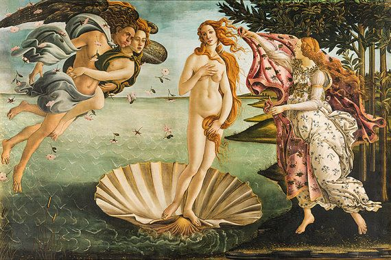 The Birth of Venus (Italian: Nascita di Venere) is a 1486 painting by Sandro Botticelli. Botticelli was commissioned to paint the work by the Medici family of Florence, specifically Lorenzo di Pierfrancesco de' Medici under the influence of his cousin Lorenzo de' Medici, close friend to Botticelli. It depicts the goddess Venus, having emerged from the sea as a fully grown woman, arriving at the sea-shore (which is related to the Venus Anadyomene motif).