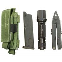 MAXPEDITION's durable single sheath can hold an extra flashlight, small cellular phone, multitool, folding knife, or handgun magazine. It can also be attached to your backpack as an accessory or be carried on the belt upright or sideways. The length of sheath lids (both Single Sheath and Double Sheath) are adjustable with internal Velcro attachments for longer items or are completely removable for those who want the quickest access.