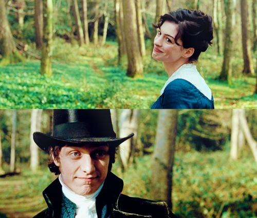 Tom Lefroy: Miss? Miss? Miss.. Jane Austen: Austen. Tom Lefroy: Mr. Lefroy. Jane Austen: Yes, I know, but I am alone. Tom Lefroy: Except for me. Jane Austen: Exactly. - Anne Hathaway (Jane Austen) & James McAvoy (Mr. Tom Lefroy) - Becoming Jane directed by Julian Jarrold (2007) #janeausten