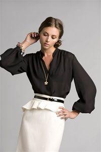 chic black blouse with white peplum Office Chic PattyonSite
