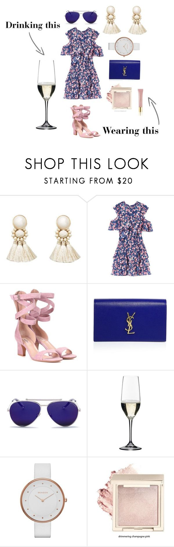 """A Champagne Tasting Look for Schlumberger Sekt Cellar"" by stylists-1 on Polyvore featuring Violeta by Mango, Valentino, Yves Saint Laurent, Alexander McQueen, Riedel, Skagen and AERIN"