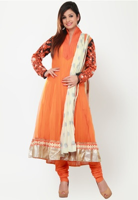 Full Sleeve Embellished Orange Suit Set - Orange coloured Anarkali suit set for women from Barcode91. Made from net, it comes with a salwar, dupatta and a full-sleeved kurta featuring embroidery, embellishment and flared fit.
