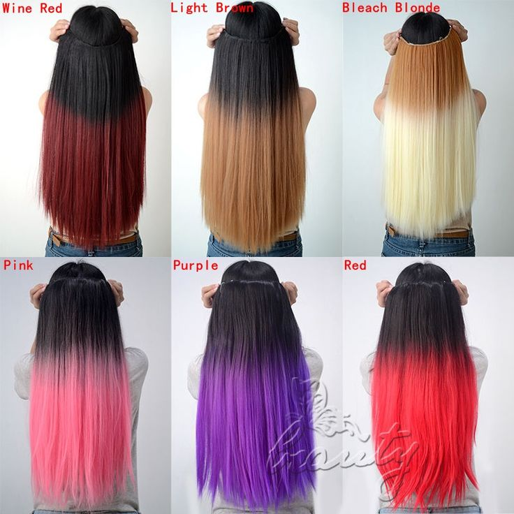 """New 24"""" 60cm Synthetic Clip In Hair Extensions Straight Hairpiece Cosplay Hair Extention Colorful Ombre Beauty Accessories B40"""