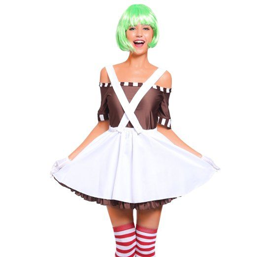 Ladies Oompa Loompa Umpa Lumpa Willy Wonka Chocolate Factory Worker Candy Creator Book Week Womens Fancy Dress Costume S UK 8 10
