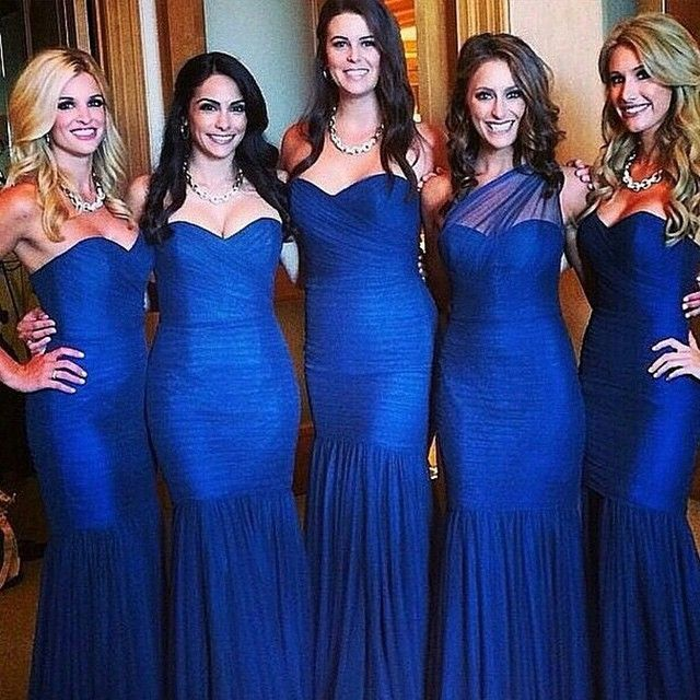 Long Cobalt Blue Bridesmaid Dresses ... perfect color but no to the actual dresses.