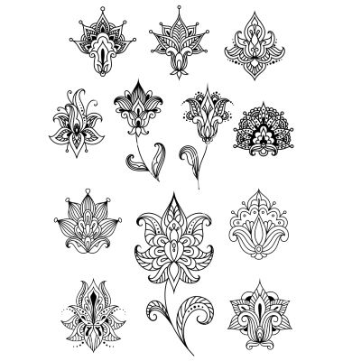 Paisley design elements with outline indian vector henna lotus tattoo - by Seamartini on VectorStock®