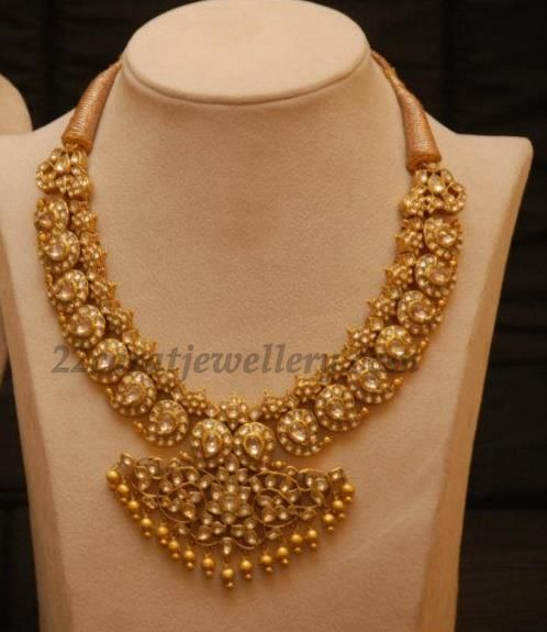 Vintage Solid 22 Carat Gold Necklace Earring Pair Set: Jewellery Designs: Sapphires Mango Mala
