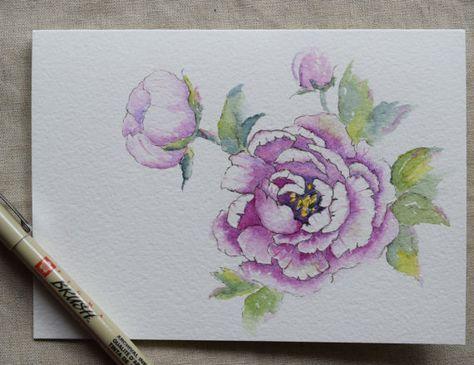 Viola peonia acquerello dipinto Card (paesaggio) - originale o stampa