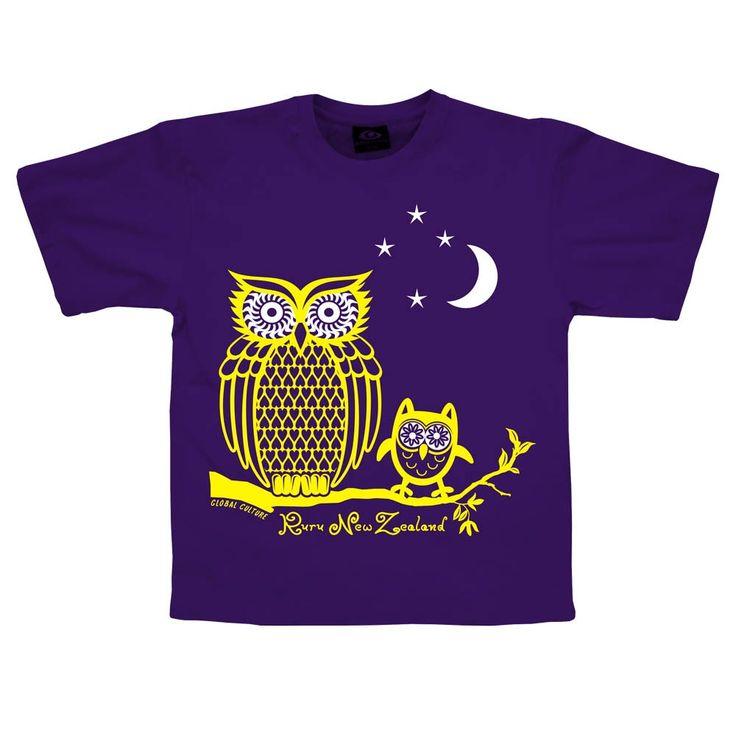Glow in the dark Ruru (owl) Kids t-shirt.