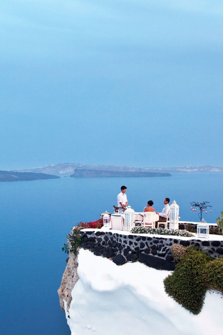 Cliff-side Lycabettus is possibly the most spectacular restaurant setting on Santorini. #Jetsetter