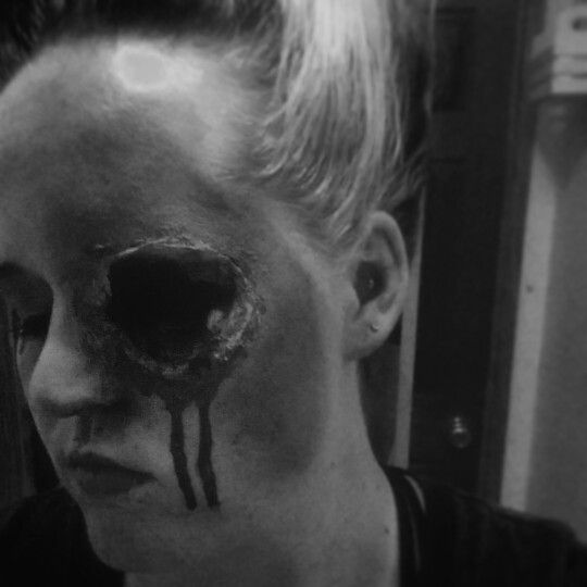 Missing eye done with poor man's latex, fake blood, bruising makeups, and an eyepatch I made myself Makeup done by Bonnie Robertson
