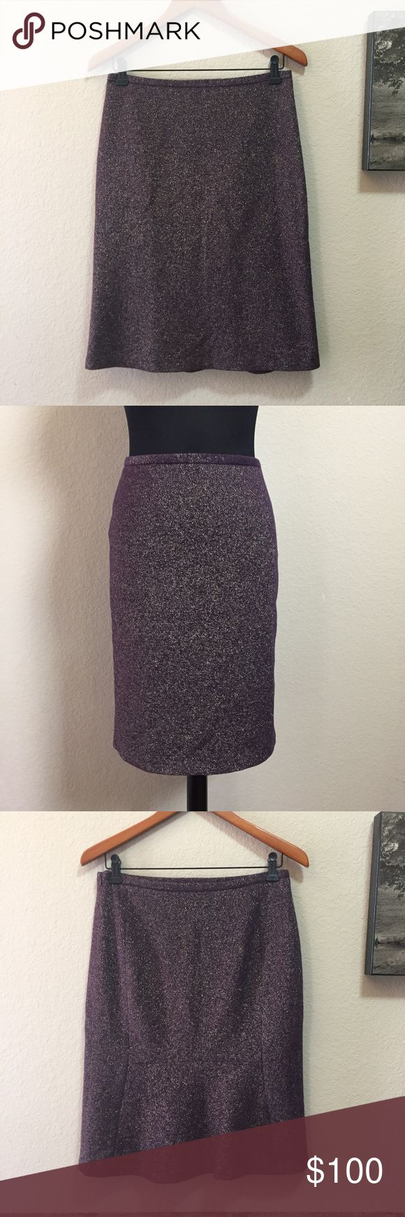 French Connection Brocade Tweed Wool Pencil Skirt! Worn once; in near perfect condition! French Connection wool blend tweed pencil skirt! Plum purple with gold brocade throughout. Hanging straps; invisible side zipper; navy lining. Pencil style front, hits just below the knee; back has stylish seaming & slight ruffle/flare tail hem. Self 69% wool, 26% nylon, 4% polyester, & 1% elastane. Lining 100% acetate. Size 6; see measurement photo. No trades! French Connection Skirts Pencil