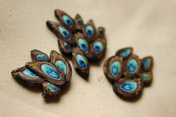 Fimo and utee beads set blue/brown (peacock feathers inspired) 2pcs