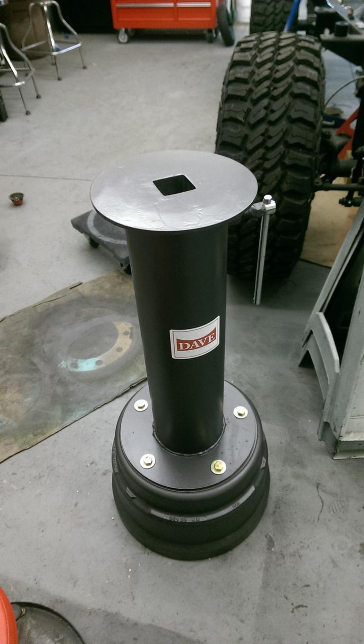 """Big rig brake drum, 6"""" pipe, 2"""" receiver internally gussets to pipe, 10 top disc plate, screw retainer to remove any slop in receiver. About $50 in with the receiver tube and pipe drop from metal yard."""