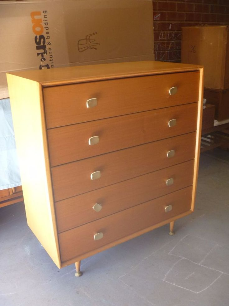 AUD 200 plus freight VINTAGE RETRO Mid Century ALROB Tallboy Chest of Drawers  in Home & Garden, Furniture, Dressers & Chests of Drawers | eBay!