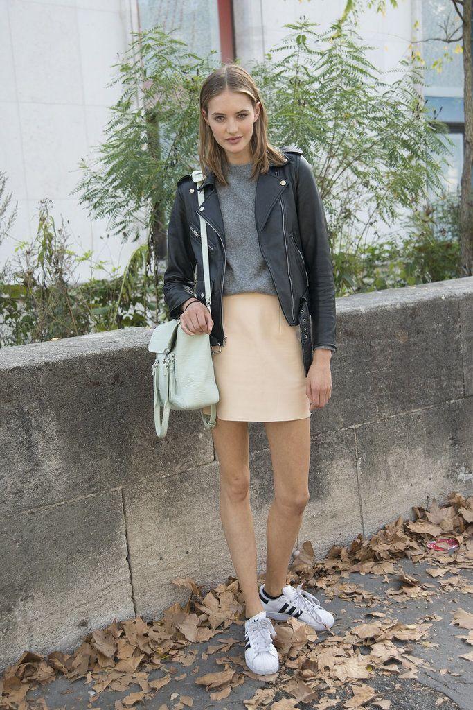 moto jacket, mint green bag, peach skirt & adidas sneaker a