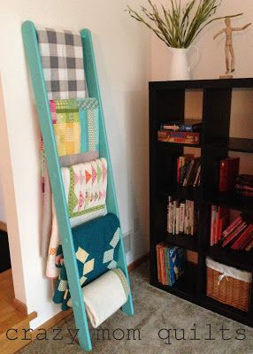 Some day I want enough quilts in my home that I have made that I can have a ladder like this to display them. Love. -crazy mom quilts
