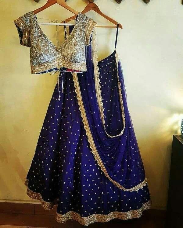 V neck blouse with lehenga and dupatta