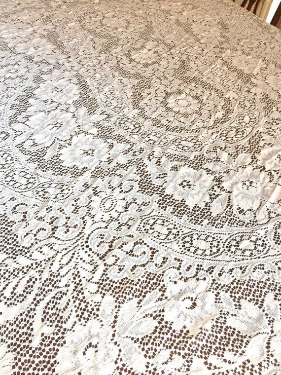 Quaker Lace Ecru Oval Tablecloth, 84 X 66 Inches, French Country, Cottage  Farmhouse Table Linens, Lovely Condition