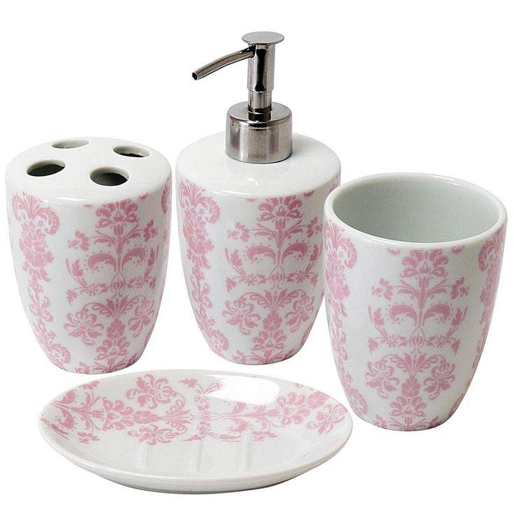 pink and grey bathroom accessories. Damask Porcelain Bathroom Set Pink  Vintage and 181 best Operation Office images on Pinterest office