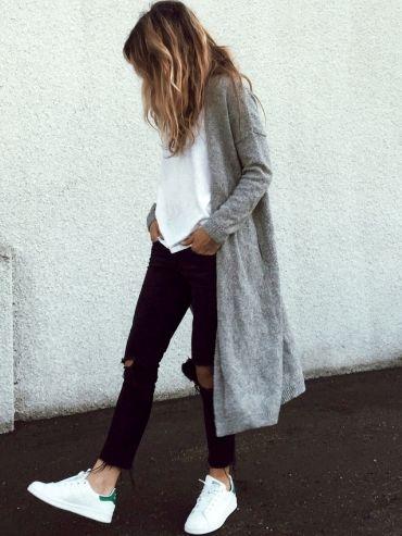 fin gilet tendances mode mode de mode blanches tee baskets blanches beautifull accessoirs mettre rien manteaux gris