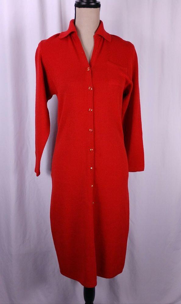 381db743494f St John Dress Santana Knit Size Medium Red Button Front Collared Midi  Length #StJohn #BodyconDress #Casual