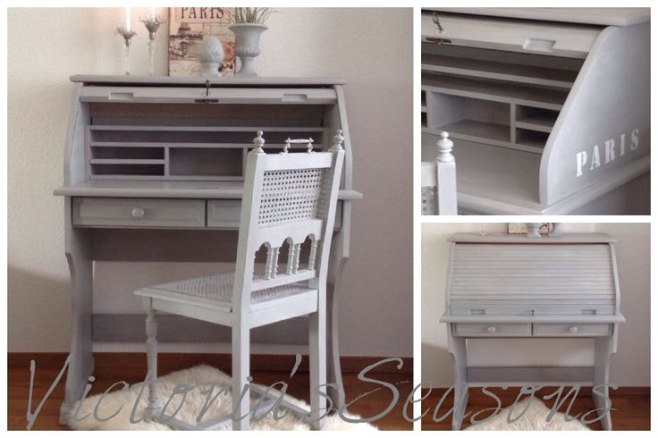 handpainted shabby chic roll top desk secretary with. Black Bedroom Furniture Sets. Home Design Ideas