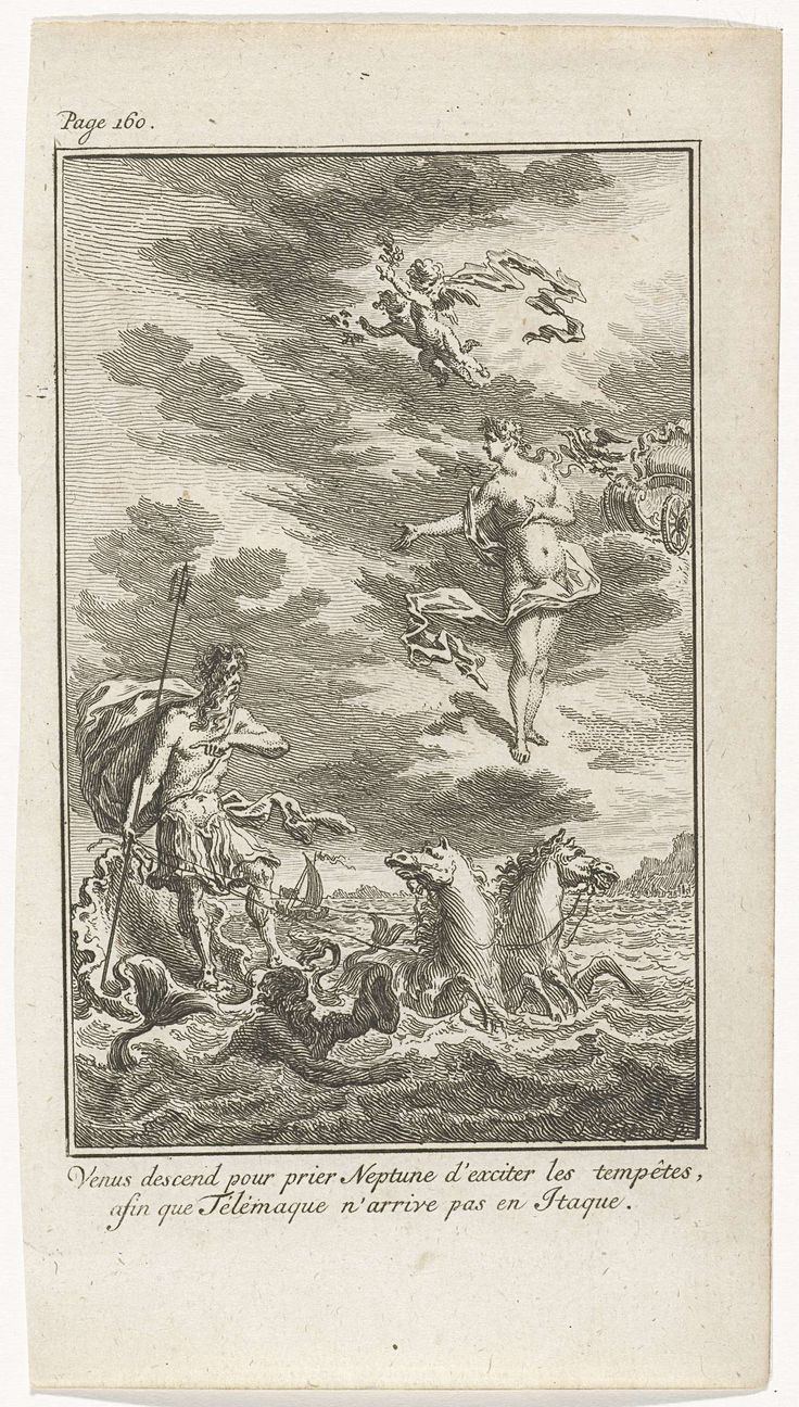 Simon Fokke | Venus en Neptunus, Simon Fokke, 1775 | Neptunus staat op een schelp en wordt voortgetrokken door zeepaarden. Hij is in gesprek met Venus die uit de lucht is neergedaald. Prent linksboven gemerkt: Page 160.