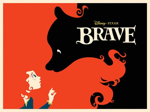 Poster print of Disney Pixar movie Brave. Great use of negative space.