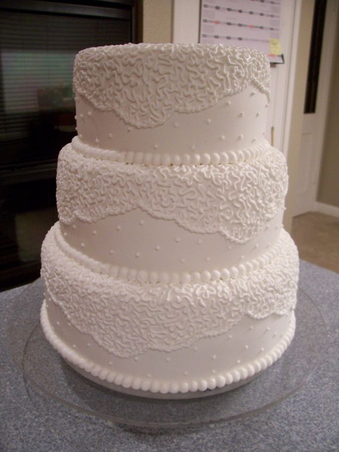 Lace Piping Cake Decorating : Covered in buttercream then fondant. Royal icing cornelli ...